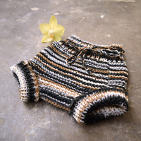 Diaper cover in striped merino wool, soft  yarn blend, black and gray striped panties, bloomers