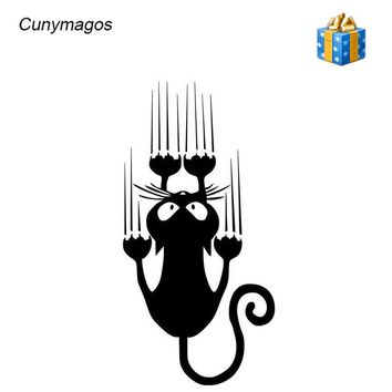 Waterproof Cat Pattern Car Sticker Funny Animal Vinyl Decal Car Window Bumper Stickers Car-styling Car Body Wall Sticker7.5*15CM