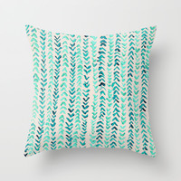 Hand Painted Herringbone Pattern in Mint Throw Pillow by Tangerine-Tane