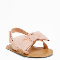 Sueded Bow-Tie Sandals for Baby|old-navy