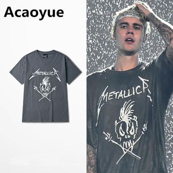 Metallica T Shirt Justin Bieber Dark Grey Cotton T-Shirt Fear Of God Punk Rock Star Swag Tyga Tops Tee