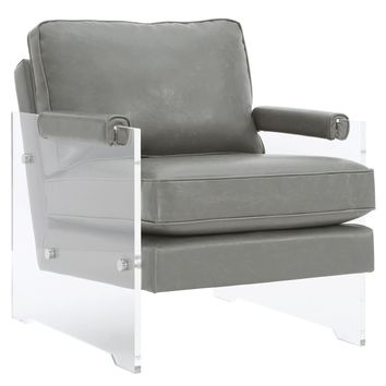 GAVEN GREY ECO LEATHER AND LUCITE CHAIR