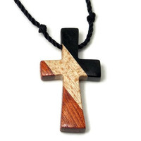 Cross Necklace for Men, Handmade Cross Pendant with Hand Knotted Black Nylon Cord, Adjustable Length, Mens Cross Necklace, Wooden Cross