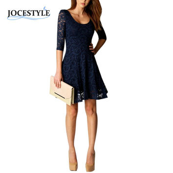 Women Lace Dresses Dark Blue Dress with Middle Sleeves Short Party Dresses Casual Autumn Dresses Vestidos Elegant Sexy Lady