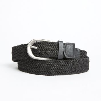 Black Canvas Braided Woven Belt