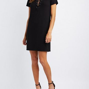 Ribbed Lace-Up T-Shirt Dress