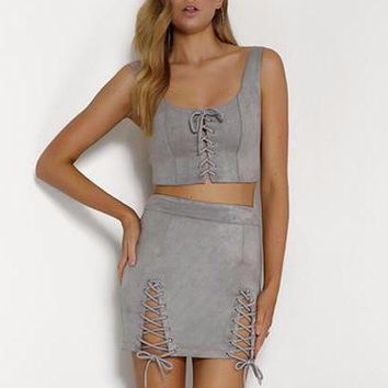 SCARLETT LACE UP TWO PIECE