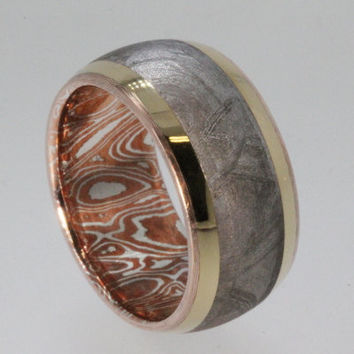 Wedding Band / Meteorite Ring / Mokume and 18K by jewelrybyjohan