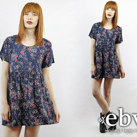 Vintage 90s Grunge Navy Floral Mini Dress S M 90s Grunge Dress 90s Floral Dress Babydoll Dress Blue Dress Blue Floral Dress Summer Dress