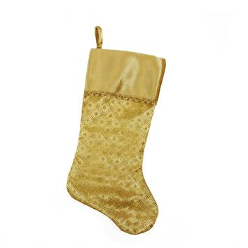 "20.5"" Gold Glitter Star Print Christmas Stocking with Decorative Metallic Trim"