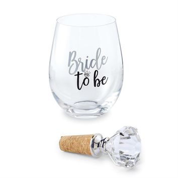 Bride to be Stemless Wine Glass and Topper Set