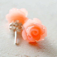 Peach Roses Earrings, Coral Flowers, Cottage Chic Rustic Wedding Jewelry