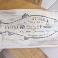 Kitchen sign, home decor, vintage fish ad, wooden kitchen sign, kitchen signs, kitchen decor, shabby chic, FREE SHIPPING