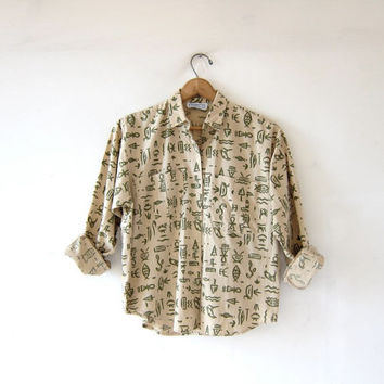 Vintage tribal cotton shirt. Hieroglyphics printed button down shirt. Beige + green. Modern minimalist.