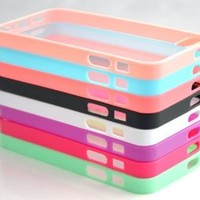 Costyle 8pcs/lot 8 Colors Colorful Soft Trim High Clear Back Hard Cover Bumper Slim Case Skin for iPhone 5 5G 5S 5GS+2pcs Screen Protector+Free Crystal Stylus Touch Pen -Black White Hot Pink Baby Pink Purple Green Blue Rose Pink