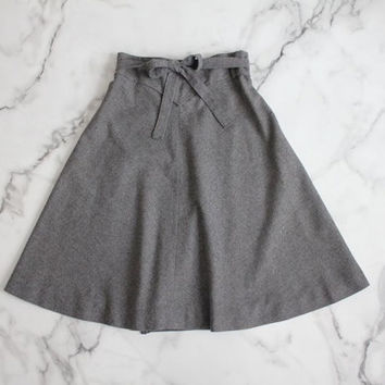 wool wrap skirt / grey wool skirt / full wool skirt