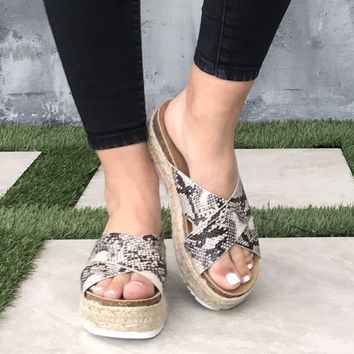 Dessie Snakeskin Tweed Platform Sandals