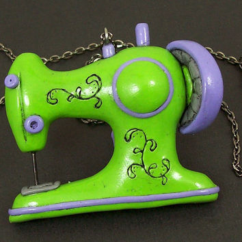 Retro Sewing Machine Necklace