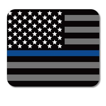 "DistinctInk Custom Foam Rubber Mouse Pad - 1/4"" Thick - Thin Blue Line Flag Law Enforcement Support"