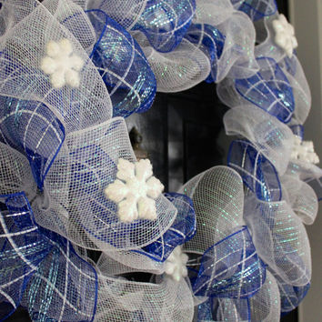 Winter Wreath, Deco Mesh Wreath, Christmas Wreath, Snowflake Wreath, Monogram Wreath, Holiday Wreath, Front Door Wreath, Front Door