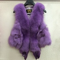 Winter Female Fur Vest with Fox Heads Outwear Real Fox Fur Vest Coat Women Natural Genuine Fox Fur Gilet  Colete Pele plus size