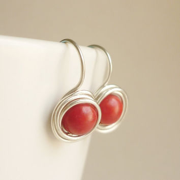 Red Bird Nest Earrings Bridesmaid Gift. Minimal Jewelry,Gift under 15