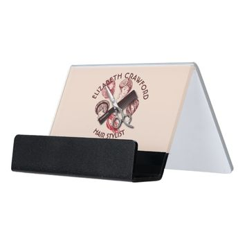 Hair Stylist Hairdresser Or Beauty Salon With Name Desk Business Card Holder