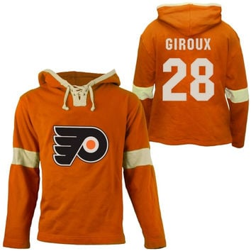 Old Time Hockey Claude Giroux Philadelphia Flyers Grant Lace Alum Name & Number Pullover Hoodie - Orange