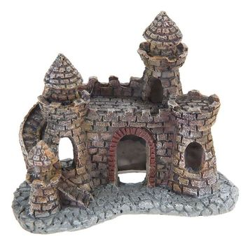 Mini Resin Cartoon Castle Aquariums Decorations Castle Tower Ornaments Fish Tank Escape Hole Aquarium Accessories Decoration