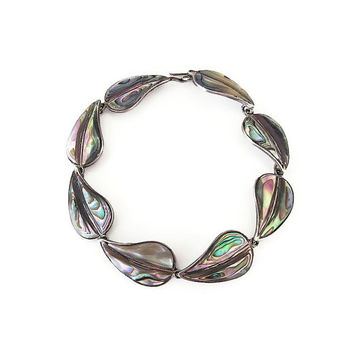 Mexican Sterling Bracelet, Abalone Shell, Cuernavaca Mexico, Leaf Leaves, 925 Silver, Vintage Bracelet, Vintage Jewelry