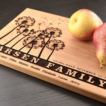 Personalized Family Tree Cutting Board, Anniversary Gift, Custom Wooden Chopping Block, Engraved Housewarming Hostess Gift, Dandelion Decor