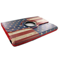 iPad Air Standing 360 Degree American Flag Leather Case