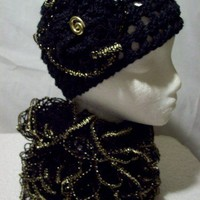 Beanie Cloche Hat and Scarf Set HandKnit Soft Warm Black with Gold