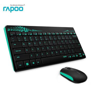 Rapoo 8000 Multimedia Mini Wireless Keyboard & mouse Combo With waterproof for PC Mac Laptops Desktops Android Smart TV gaming