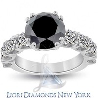 5.79 Carat Certified Natural Black Diamond Engagement Ring 14k White Gold - Lioridiamonds.com