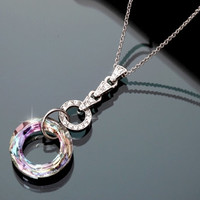 Swarovski Crystal Aurora Ring Pendant Necklace, Gift for Girls, Luxury Jewelry, 2014 Trendy Necklace