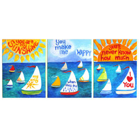 Set of Three 16x20 ART PRINTS, You Are My Sunshine, Sailboats, nursery decor, art for kids