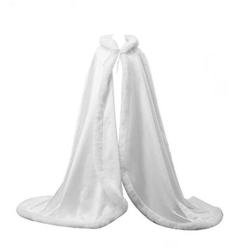 Floor Length women Faux Fur Trim Bridal Cape Wedding Cloaks Hooded Party Wraps Jacket