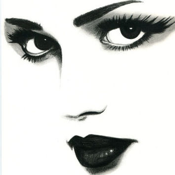 sad eyes woman original art pencil drawing eyes lips face black & white artwork
