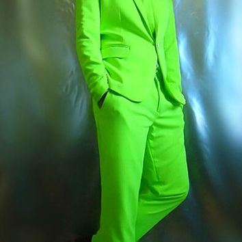 red green blue suit(jacket+pants)Neon blazer set multicolour suit set dj costume for singer dancer performance show bar