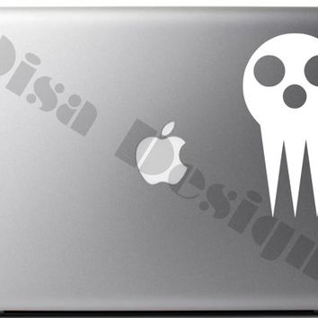 Soul Eater, Shinigami Mask inspired vinyl decal for Macbook, Laptop, Computer, Notebook, Car decal