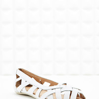 Deena & Ozzy Hettie Cut-Out Ballerina Flat Shoes in White - Urban Outfitters