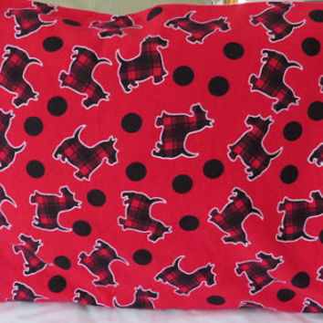 Flannel Pillow Cases/ Children's Standard Pillow Case/ Kids Bedding/ Scottie Dog Pillow Cases