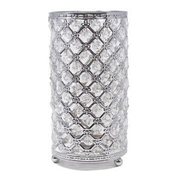 Metal Crystal Candle Holder with Hanging Beads, Silver, 9-1/2-Inch