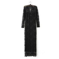 Autumn V-neck Lace Dress Sexy Long Sleeve Ball Gown Prom Dress One Piece Dress [4917879300]