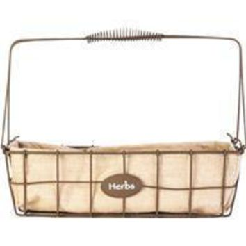 Panacea Products - Rustic Narrow Herb Woven Wire Basket Burlap Liner