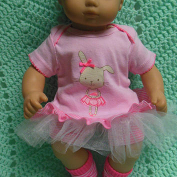 "AMERICAN GIRL Bitty Baby Clothes ""Bunny Loves Ballet"" (15 inch) Easter doll outfit  dress, leggings, booties socks, and headband bunny"