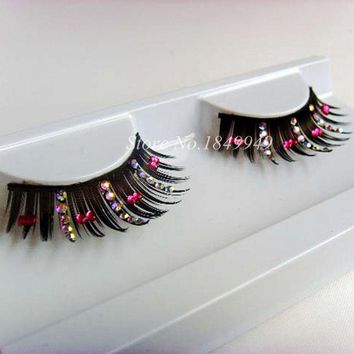 1 Box 1 Pair Exaggerated False Eyelashes Creative Diamond Bow Stage Catwalk Art Fake Eyelashes Fashion Makeup Lashes