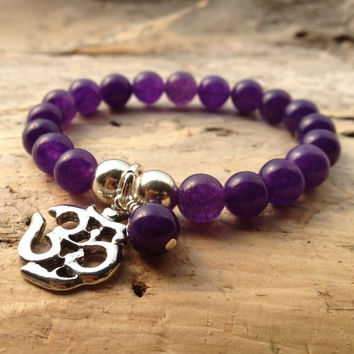 Amethyst stretch bracelet Beaded purple friendship Yoga bracelet  perfect for stacking