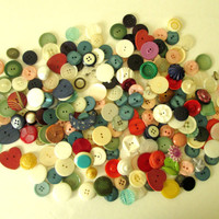 Vintage Buttons grab bag large button lot mix heart moon destash supply sewing supply notions basket box kit gift sewer crafter